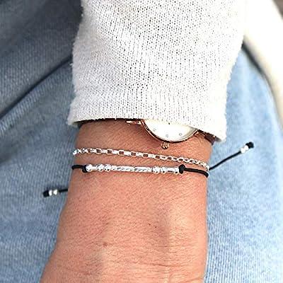 Bracelet cordon double rangs jonc et chaine argent 925 pour femme
