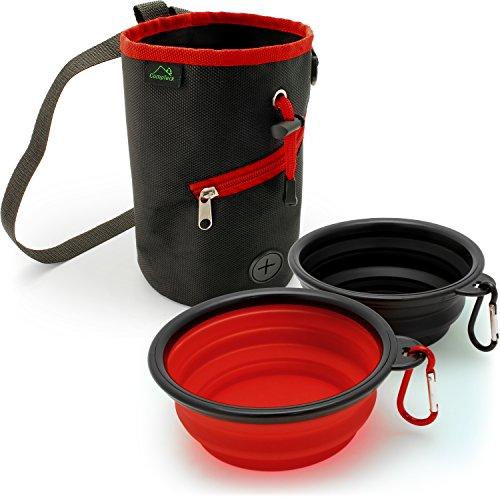 CampTeck U6762-2x Plegable Silicona Comedero para Perro Viajes Plato & Bolso de Entrenamiento de Perros con Dispensador De Bolsas para Desechos