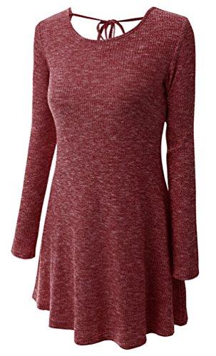 Ghope Femmes Automne hiver Tricoté pull ample pull Mini robe Manche Longue Souple Lâche Tunique Blouse Vin Rouge