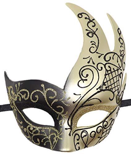 Mädchen Kostüm Chucky - Coolwife Maskenball-Maske, Vintage-Stil, venezianisches Kostüm, Karneval, Cosplay, Ball Party - Gold - Einheitsgröße
