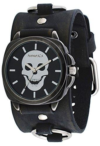 Nemesis #FRBK935K Men's Gun Metal Skull Face Dial Wide Leather Cuff Band Watch
