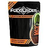 FLEXILACES - Flache elastische Schnürsenkel | Spannung einstellbar | viele Farben | nie Wieder Schuhbänder binden | passend für alle Schuhe - Schwarz