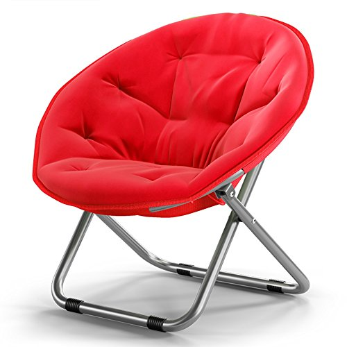 Red Beach Chair (YAGEER zhe dieyi Adult Moon Chair, Sonnenliege, Lounge Chair, Radar Chair, Lounge Chair, Klappstuhl, Round Chair, Sessel, Stuhl, Lounge Chair Beach Chair (Farbe : Red))