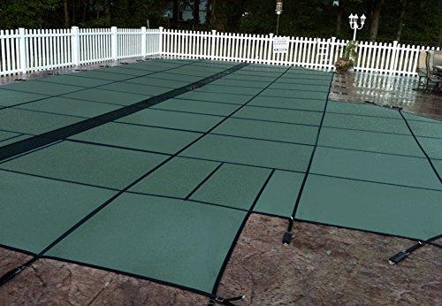 Gli Hyperlite 16FT x 32ft massiv rechteckig Sicherheit System mit 4ft x 8ft links, Schritt 1FT Offset und Kleen Bildschirm Ablauf, grün (Boden-pool-net über)
