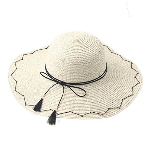 c0bbd5987bff6 Sombreros LINGZHIGAN Hembra Protector Solar Playa Grande Sol Franja  Pescador Vacaciones Paja (Color   Caqui