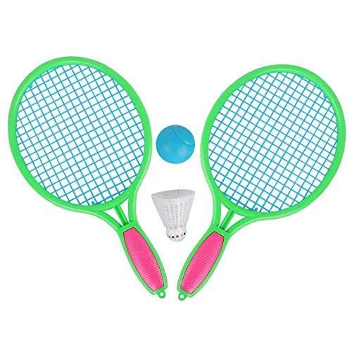 er Tennisschläger Tragbare Badmintonschläger mit Badmintonball Tennisball für Kinder Jungen Mädchen Sporttraining 36cm(Grün) ()