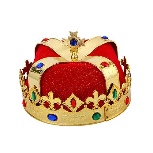 Hut König Krone Zepter Halloween Kostüm Cosplay Party Bühnenshow Maskerade Karneval Geburtstag Party Requisiten Royal Emperor Hüte für Kind Erwachsene (Krone Und Zepter Kostüm)