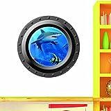 Ecloud Shop Rundes Fenster 3D Seascape Meerblick Hai Hauptdekoration-Aufkleber PVC Tapete