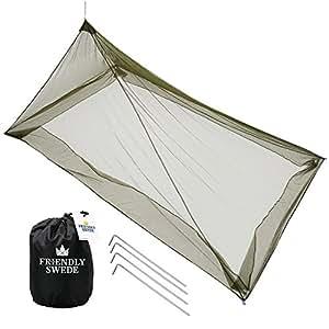 The Friendly Swede Camping Moskitonetz für 1 Person, Robuster, kompakter, Leichter Mückenschutz für Reise und Outdoor (MESH 225)