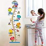 Guooe Wandtattoo Kinderzimmer Junge Mädchen Wandsticker Messlatte Kind Dekoration Abziehbilder Wohndeko Jungen Farbkarikatur-Babyelefant Größenmesser Wandbordüre Wohnzimmer Babyzimmer