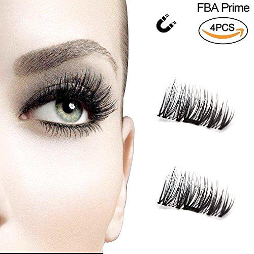 Neu Magnetische falsche Wimpern Ultra Thin 3D-Fiber wiederverwendbare Beste gef?lschte Wimpern Extension f¨¹r die Nat¨¹rliche, Perfekt f¨¹r tiefliegende Augen & runde Augen 1 Paare / 4 pcs
