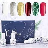Vernis Semi Permanent - Y&S UV LED Vernis à Ongles Vernis Gel Soak Off Manucure Nail Art Kit 6 Couleurs X 8ml Lot Noël