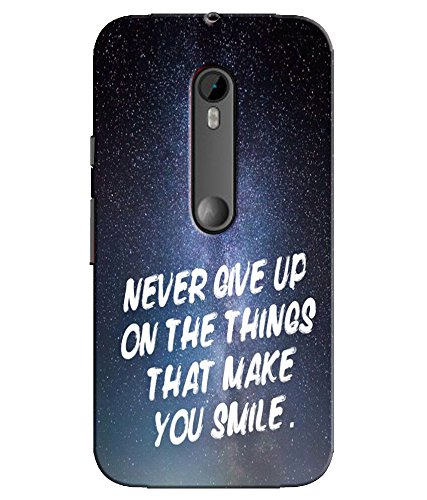 EU4IA Never Give Up Quotes PRINTED MATTE FINISH Back Cover Case For MOTOROLA MOTO G 3RD GENERATION - D286  available at amazon for Rs.299