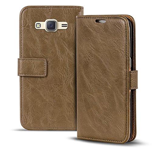 Verco Galaxy J1 (2016) Hülle, Premium Handy Schutzhülle für Samsung Galaxy J1 Hülle PU Leder Wallet Tasche Retro Flipcase, Mocca