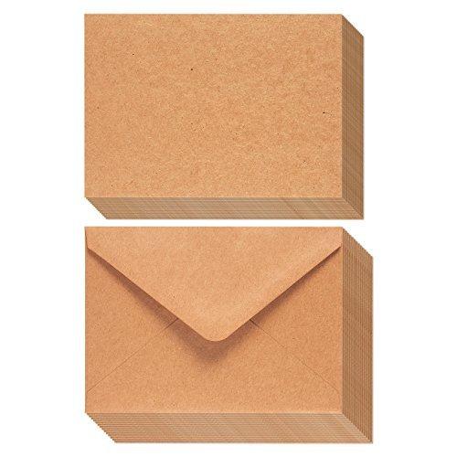 50Stück braun Kraft Papier A7Umschläge und 50-sheet Grußkarte Papier-13,3x 18,4cm v-flap Briefumschläge-12,7x 17,8cm Grußkarte Papier (Stationären Drucker Papier)