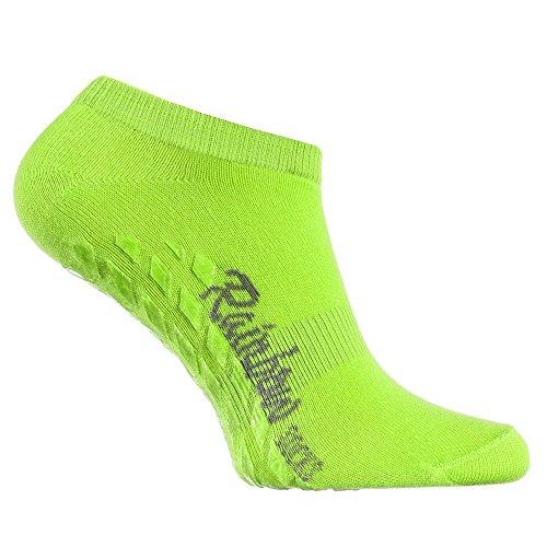 Rainbow Socks 1 Paar Kurze ANTIRUTSCH-Socken by Baumwollereiche STOPPERSOCKEN, Komfort für Jeden Tag, ideal für: Glatte Fußböden Yoga Trampolinspringen GRÜN 44/46 Oeko-Tex-Zertifikat, Made in EU