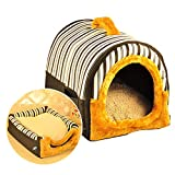 ACTNOW 2-in-1 Haustierhütte und tragbares Sofa, rutschfest, für Hunde, Katzen, Iglu-Bett, warm, gestreift, Kaffee-farben, Geschenk für Haustier