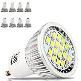 GU10 LED-Leuchten 5.5W im 8er-Pack Coolesweiß 6000k, 500 Lumen, Entspricht 50W Halogen-Leuchte, Beste LED-Leuchten im Bestand