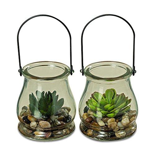 Whole House Worlds Ganze Haus Welten der Farmer 's Market Realistische Faux Succulents, Set 2, Glockenförmige Glas Klar Mason Jar Terrarium mit Griff mit Schlaufe, 10,2cm Hoch, von WHW Land Pot Holder