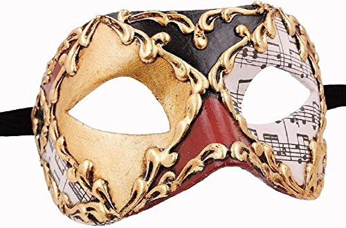 Damen Unisex Colombina Musica Handarbeit Original Karneval Masken Venezianisch aus Venedig für Maskenball Fasching oder Party (Pappmaché Halloween-masken)