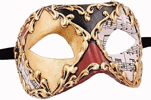 Damen Unisex Colombina Musica Handarbeit Original Karneval Masken Venezianisch aus Venedig für Maskenball Fasching oder Party (Musicas De Halloween)