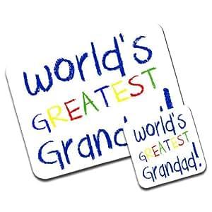World's Greatest Grandad Fathers Day Birthday Gift Premium Mousematt & Coaster Set