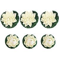 UEETEK 6pcs espuma Artificial realista estanque plantas de loto lirios blanco de decoración para el hogar