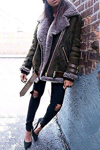 Minetom Damen Mode Warm Casual Streetwear Winter Wildleder Wolle Motorradjacke Mantel Fleece Outwear Jacke Parka Mit Taschen Dunkelgrün DE 38 - 3