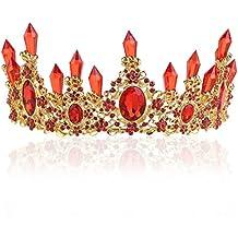 Pixnor Pendiente de la Tiara de la boda conjunto Rhinestones cristal novia princesa corona pendiente (rojo)