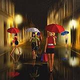 Artland Qualitätsbilder I Poster Kunstdruck Bilder 50 x 50 cm Menschen Frau Mixed Media Bunt D4XQ Frauen Beim Einkaufen im Regen