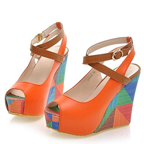 Hauts Orange De TAOFFEN Plateforme Compenses Talons Sandales Chaussures Sangle Femmes Cheville Mode Toe Peep gwqO0U1g