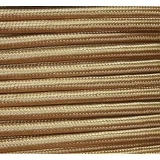 Textilkabel Lampen Flachkabel Gold, 2x0,75²mm