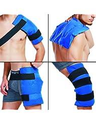 """Paquete de hielo con correas elásticas de velcro para terapia caliente o fría, tamaño grande (14"""" x11"""") - Ideal para esguinces, dolor muscular, moretones, lesiones (Hombro, Espalda, Cadera, Muslo, Rodilla, Canilla)"""