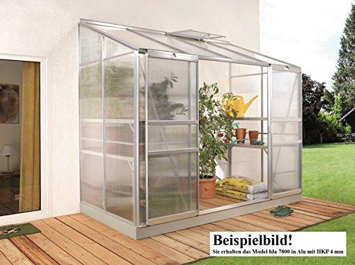 Gartenwelt Riegelsberger Anlehngewächshaus Ida – Ausführung: 7800 HKP 4 mm Alu, Fläche: ca. 7,8 m², mit 2 Dachfenster, Sockelmaß: 1,90 x 3,79 m