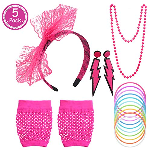 5 Pc 80s Accessories Set for Women, Pink