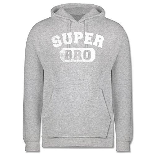 Bruder & Onkel - Super Bro - Vintage-&Collegestil - Herren Hoodie Grau Meliert