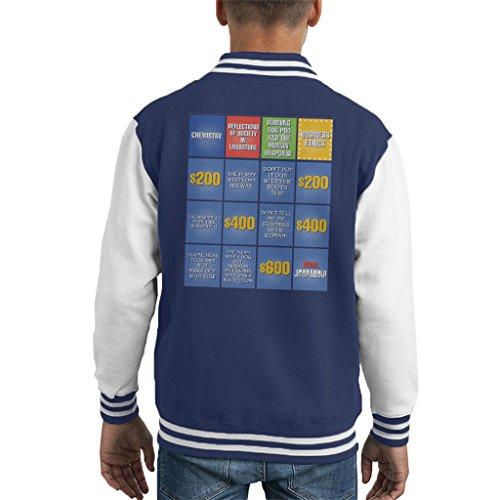 Jeopardy Spielen (Billy Madison Jeopardy Board Quotes Kid's Varsity Jacket)