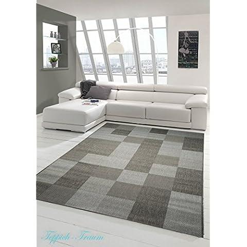 Alfombra moderna flatweaves kariert Sisaloptik cocina alfombra cocina corredor grises Karo Design Größe 60x110 cm