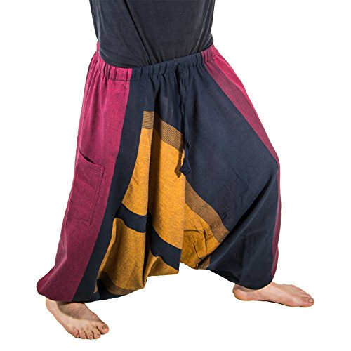 KUNST UND MAGIE Orientalische Haremshose Pluderhose Pumphose Aladinhose, Größe:One Size, Farbe:Mehrfarbig