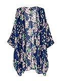 Femmes Cru Tenue De Plage Mousseline De Soie Floral Imprimé Longue En Vrac Kimono Cardigan Blouses Plage Couvrent Jusqu'À