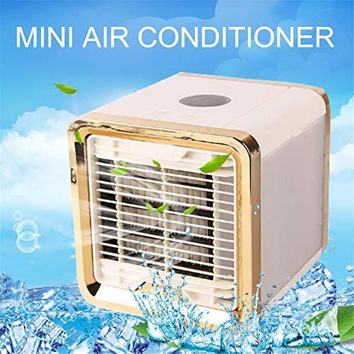 Clevoers Mini Luftkühler,Mobile Klimageräte Luftbefeuchter und Luftreiniger mit 7 Farben und USB Ventilator Luftreiniger für Home Office Auto im Freien (Gold)