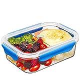 SELEWARE Frischhaltedosen Mikrowelle Lunchbox 100% bpa frei Luftdicht Auslaufsicher mit 3 fächern sicher für Gefrierschrank und Spülmaschine,Tritan (1,68 Liter, Rechteck, Blau)