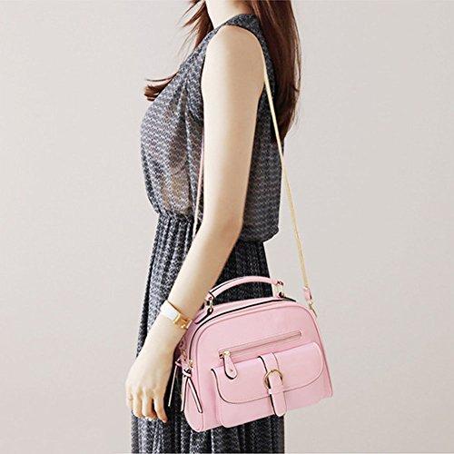 LaoZan Damentasche Messenger Bag Mobile Paket Umhängetasche Schultertasche Hell Blau Pink