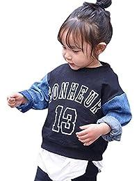 Logobeing Ropa Bebe Unisex Niños Pequeños Niñas Chica Letra de Impresión Denim T-Shirt Tops Sudadera Suéter Trajes