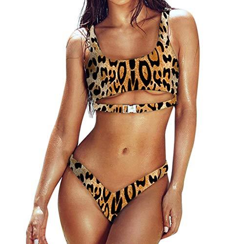 Lialbert Leopardenmuster Eckigem Ausschnitt Camisole Bandeau Mit Schnalle Gerippter Bikini Bikini-Tanga Mit Zierausschnitten GeblüMtes Fashion Zweiteiliger Strukturiertes Bikinioberteil (Braun,36) -