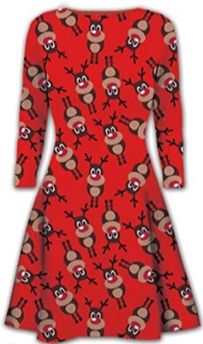 Frauen Weihnachten Kleider Damen Langarm Olaf Weihnachts Neuheit Stocking Weihnachten Swing-in Übergrößen All over rudolph red