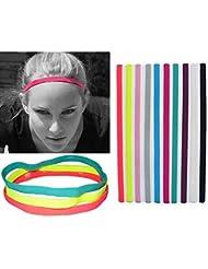 UPmall® - Diadema deportivo, 0,39cm de ancho con interior de silicona, banda única con dos tiras, cinta para el sudor, hombre mujer Infantil, 9 Colors