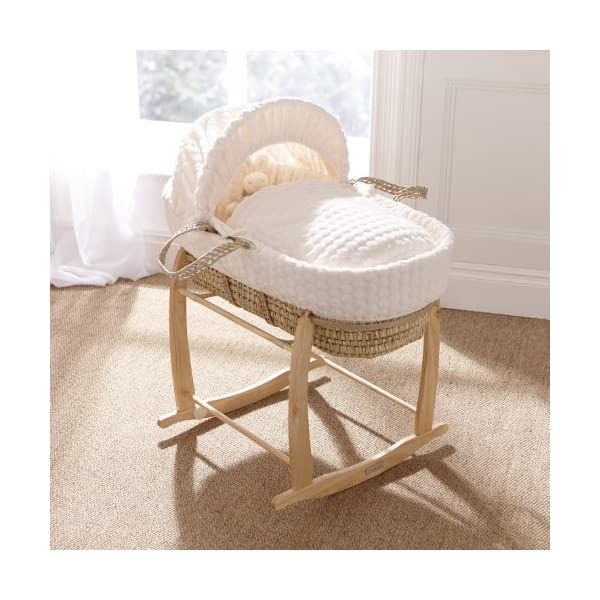 Clair de Lune Marshmallow Palm Moses Basket inc. Bedding, Mattress & Adjustable Hood (Cream) Clair de Lune Manufactured in the UK Includes basket, dressing and mattress Beautiful soft material 3