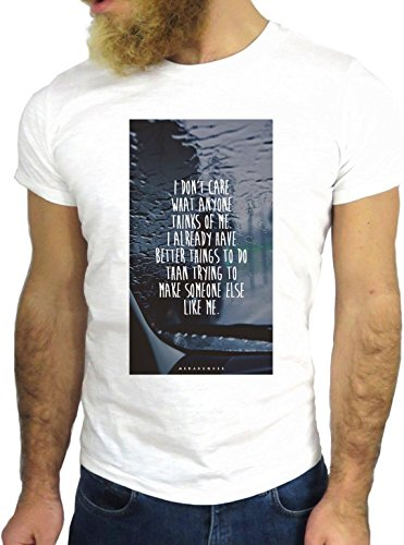 T SHIRT JODE Z1961 DON'T CARE ANYONE THINK LIFESTYLE TUMBLR FUN COOL FASHION GGG24 BIANCA - WHITE