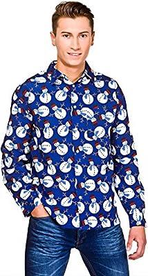 wicked Mens Blue Christmas Shirt with Snowmen Fancy Dress Item